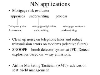 NN applications