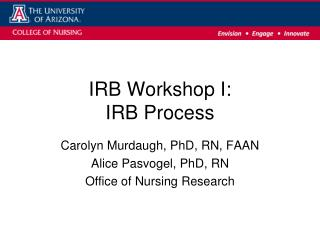 IRB Workshop I:  IRB Process