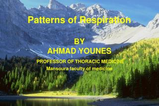 Patterns of Respiration BY AHMAD YOUNES PROFESSOR OF THORACIC MEDICINE
