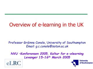 Overview of e-learning in the UK