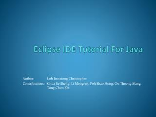 Eclipse IDE Tutorial For Java