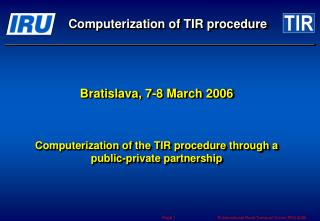 Computerization of TIR procedure