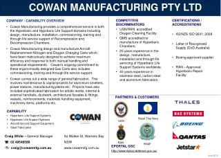 COWAN MANUFACTURING PTY LTD