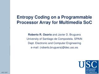 Entropy Coding on a Programmable Processor Array for Multimedia SoC