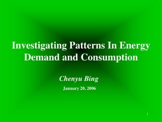 Investigating Patterns In Energy Demand and Consumption