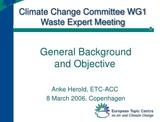 Climate Change Committee WG1 Waste Expert Meeting