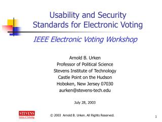 Usability and Security  Standards for Electronic Voting