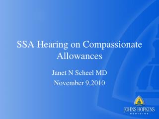 SSA Hearing on Compassionate Allowances