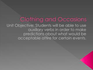 Clothing and Occasions