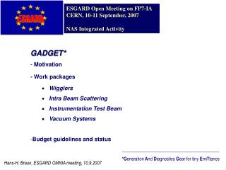 GADGET* - Motivation - Work packages Wigglers  Intra Beam Scattering  Instrumentation Test Beam