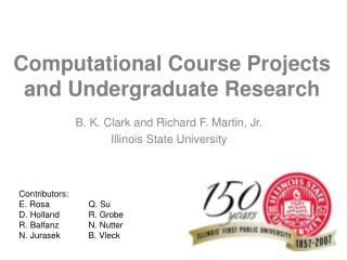Computational Course Projects and Undergraduate Research