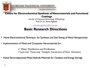 Centre for Electrochemical Synthesis of  Nanomaterials  and Functional Coatings