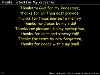 Thanks To God For My Redeemer