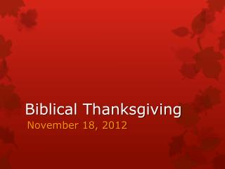 Biblical Thanksgiving