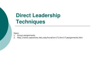 Direct Leadership Techniques