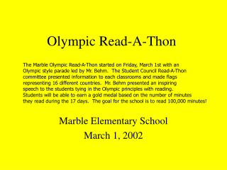 Olympic Read-A-Thon