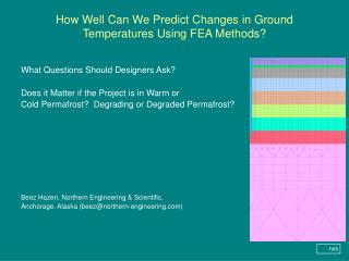 How Well Can We Predict Changes in Ground Temperatures Using FEA Methods?