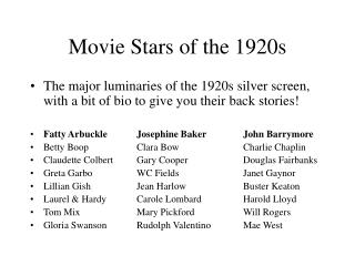 Movie Stars of the 1920s
