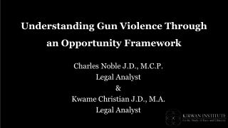 Understanding Gun Violence Through an Opportunity Framework