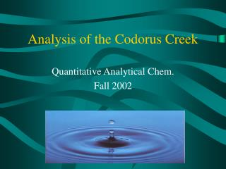 Analysis of the Codorus Creek