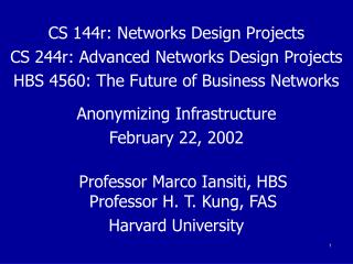 CS 144r: Networks Design Projects CS 244r: Advanced Networks Design Projects