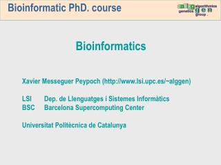 Bioinformatic PhD. course