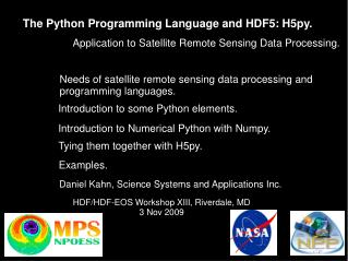 The Python Programming Language and HDF5: H5py.