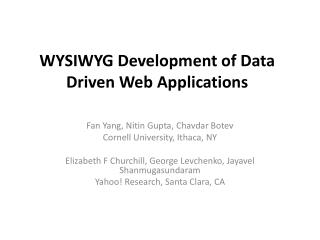 WYSIWYG Development of Data Driven Web Applications