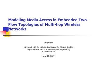 Modeling  Media Access  in Embedded Two-Flow Topologies of  Multi - hop Wireless Networks