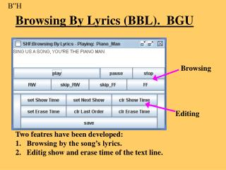 Browsing By Lyrics (BBL).  BGU