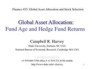 Global Asset Allocation: Fund Age and Hedge Fund Returns