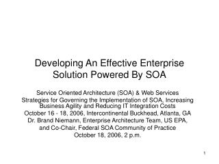 Developing An Effective Enterprise Solution Powered By SOA