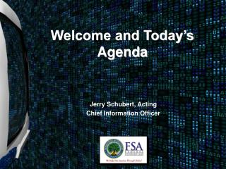 Welcome and Today's Agenda