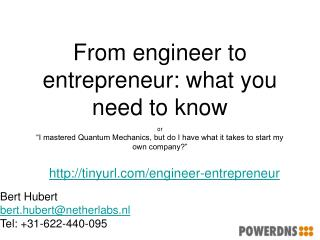 From engineer to entrepreneur: what you need to know