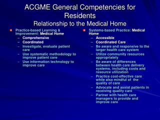 ACGME General Competencies for Residents  Relationship to the Medical Home