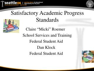 Satisfactory Academic Progress Standards