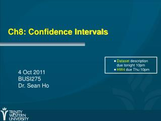 Ch8: Confidence Intervals