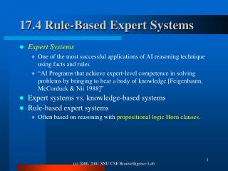 17.4 Rule-Based Expert Systems