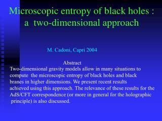 Microscopic entropy of black holes :  a  two-dimensional approach