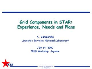 Grid Components in STAR:  Experience, Needs and Plans