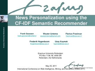 News Personalization using the CF-IDF Semantic Recommender