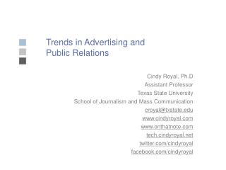 Trends in Advertising and Public Relations
