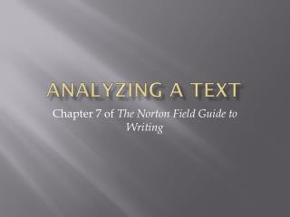 Analyzing a Text