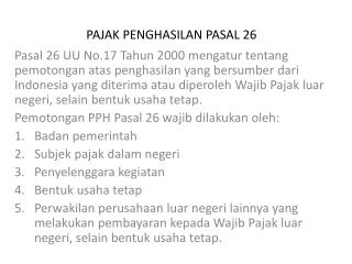PAJAK PENGHASILAN PASAL 26