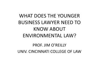 WHAT DOES THE YOUNGER BUSINESS LAWYER NEED TO KNOW ABOUT  ENVIRONMENTAL LAW?