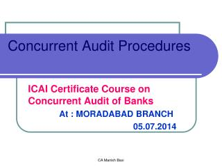 Concurrent Audit Procedures