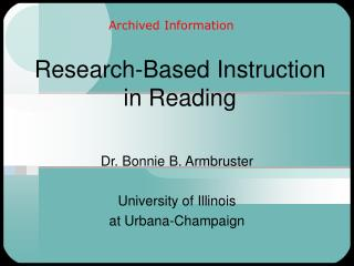 Research-Based Instruction in Reading