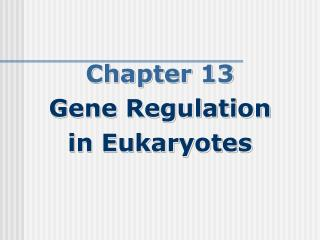 Chapter 13 Gene Regulation  in Eukaryotes