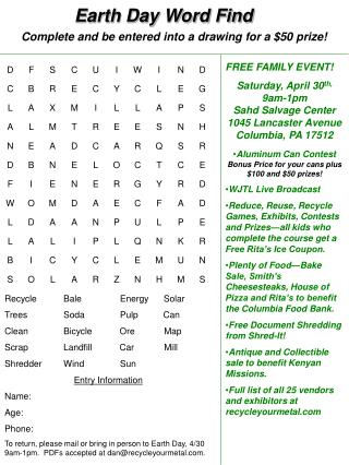 Earth Day Word Find
