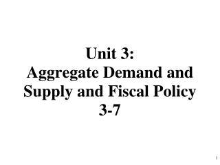 Unit 3: Aggregate Demand and Supply and Fiscal Policy 3-7